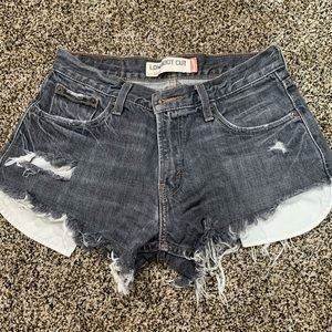 Faded Black distressed shorts
